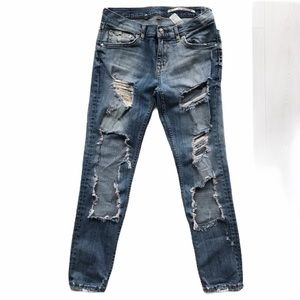Zara Ripped Mid-Rise Slim Fit Blue Jeans 2